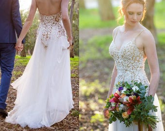 Corset Wedding Dress Open Back Custom Made Unique