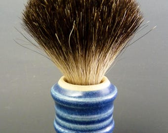 Stoneware Shaving Brush, Black Badger Knot 21/65mm, Cobalt Blue Semi-Matte