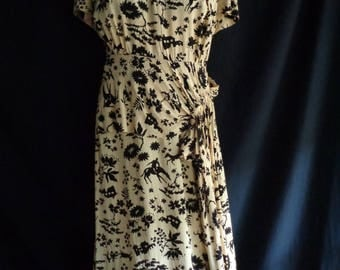 1940's dress yellow and black novelty print