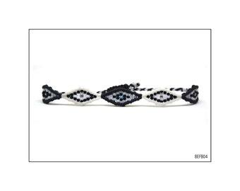 Macrame bracelet with 5 eyes - Black and White / BEFB04