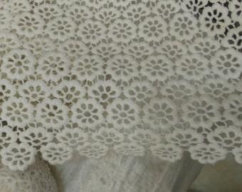 Cotton Lace fabric, Wide Scalloped Lace fabric,Home Decor lace Fabric-120CM*1yard,off White Lace Fabric White, Dress Lace