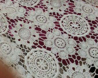 3.9ft white wedding dress fabric flower embroidery cloth  White Water Soluble Lace Fabric
