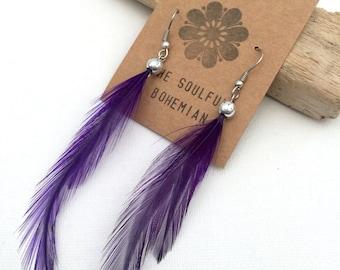 Bohemian purple feather earrings for pierced ears