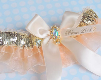 Gold and Nude Prom Garter, Garters, Prom Garters