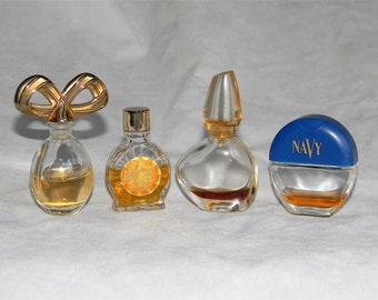 Vintage Glass Perfume Bottles Lot with Partial Content Of Perfume