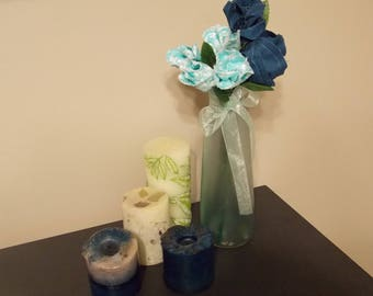 Sea Foam Green Bud vase with Fabric Flowers in Shades of Blue