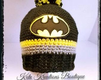 Crochet Batman Beanie!  Crochet Batman Hat.  Inspired Crochet Batman Beanie!