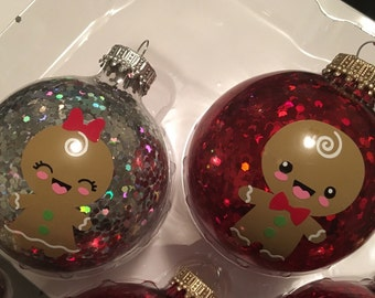 Gingerbread Boy or Girl Customized Glitter Ornament
