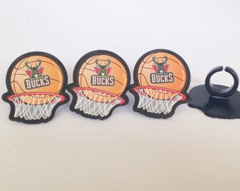12 Milwaukee Bucks Cupcake Rings NBA Basketball Toppers Party Favors