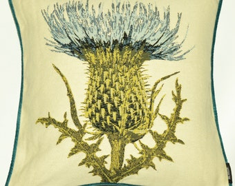 """McAlister Floral Nature Print Tapestry 17"""" 43cm Filled Cushions & Covers w/ Teal Velvet Back + Piping - Traditional Thistle"""