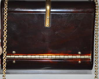 Authentic Vintage Design  Wilardy Tortoise Shell Clutch Purse with Gold Chain and Brass Hardware