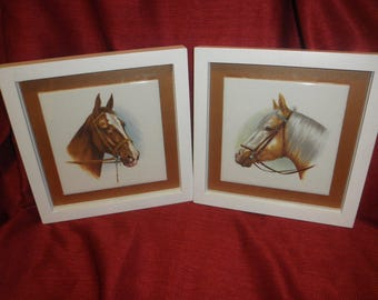 Horse in Ceramic Tiles with Two Different Faces in Frame