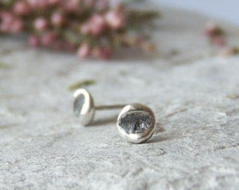 Stud earrings, oxidized sterling silver, handmade ear studs, recycled sterling silver