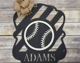 Baseball Door Hanger - Baseball Wall Hanging - Personalized Baseball Decor
