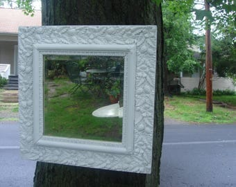 FINAL CLEARANCE SALE antique very ornate  mirror /  antique shabby chic ornate beveled glass mirror/ wood and gesso mirror