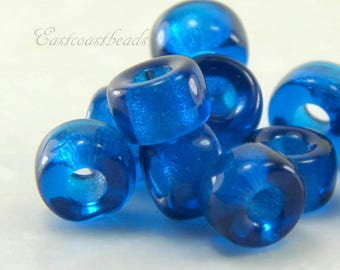 Pony Beads , 9mm w/3.5mm Hole, Blue, Aqua, Rondelle Beads, Roller Beads, Czech Beads, Large Hole Beads, Accent Beads, 20 Pieces, 0025