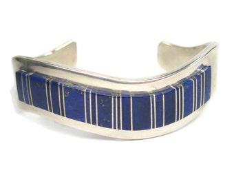 Vintage Navajo Lapis Inlay Cuff Bracelet Edward Becenti