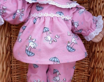 Girls' flannelette pink pyjama set with a mother duck and ducklings design to fit your 16 - 18 inch Cabbage Patch Doll.