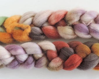 Shetland,Herbstwaldwichtel, handpainted top-roving for spinning and felting 115gr