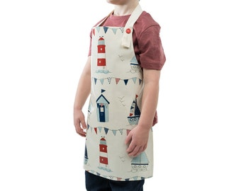 Child's Oilcloth Apron, Maritime Adjustable Apron, Wipe Clean Cooking, Baking, Craft Apron
