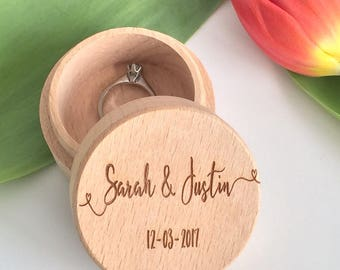 Personalised wood wedding ring box - ring bearer - custom wedding rings - wooden wedding box - ring bearer box personalised custom