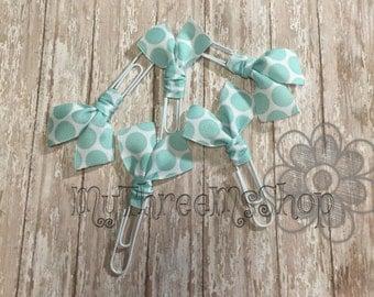 5 pack aqua polka dot ribbon bookmarks, Jumbo Paperclip Bookmark, Coupon clip, Paper holder, Cookbook recipe marker, Bookworm, book club
