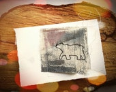 Stitched Bear Art Card -  Handmade Stitched Paper and Canvas Artwork Card with Recycled Printmakers' Paper - MADE TO ORDER