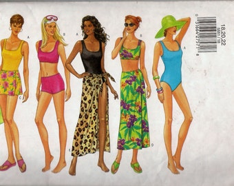Butterick 5551 Sewing Pattern Misses' One or Two Piece Swimsuit Maillot and Cover-up Wrap Sarong Pareo Size 18 20 22 Uncut
