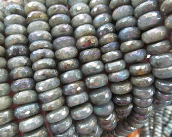 Genuine Labradorite Beads, AB Mystic  Labradorite Rondelles, Freeform  Rondelles, Roundels Faceted beads 4-10mm full strand
