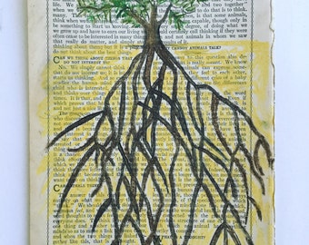 Roots- An Original Chalk Pastel Drawing on Vintage Page