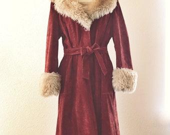 70s Fur Trim Coat Etsy