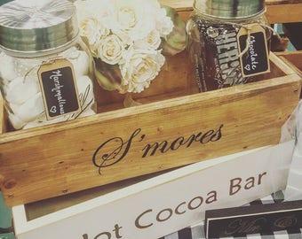 S'mores bar station for wedding, Rustic S'mores box, S'mores wedding station, S'mores party, Firepit decor, Farmhouse, Outdoor barn wedding