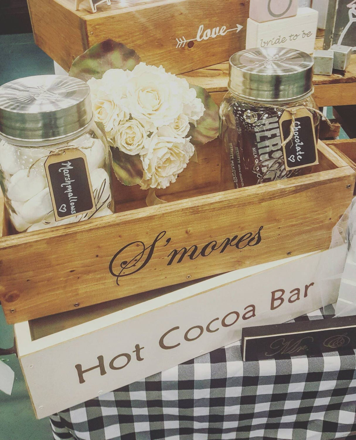 S'mores bar Station, Mason jar planter, Rustic S'mores box, S'mores wedding station, S'more party, Firepit decor, Farmhouse, RV living, Fall