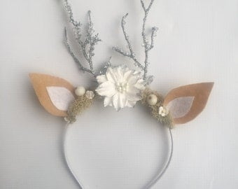 Reindeer headband with silver stick antlers