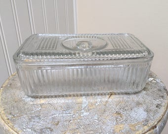 Reserved for J. Johnson-Vintage Glass Refrigerator Box with Lid/Rectangle Clear Glass Box