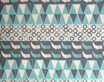 Fabric - Sevenberry - blue bird print - cotton flax.