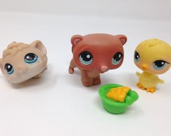 Littlest Pet Shop Lot of 4 toys -  Adorable Ferret, Guinea Pig, Duck