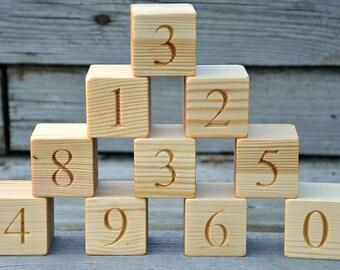 1.6'' Wood Number Blocks, 10 Natural Handmade Wooden Building Blocks Numbered 0 to 9, Wooden Number Block, Christmas Baby Shower Gift