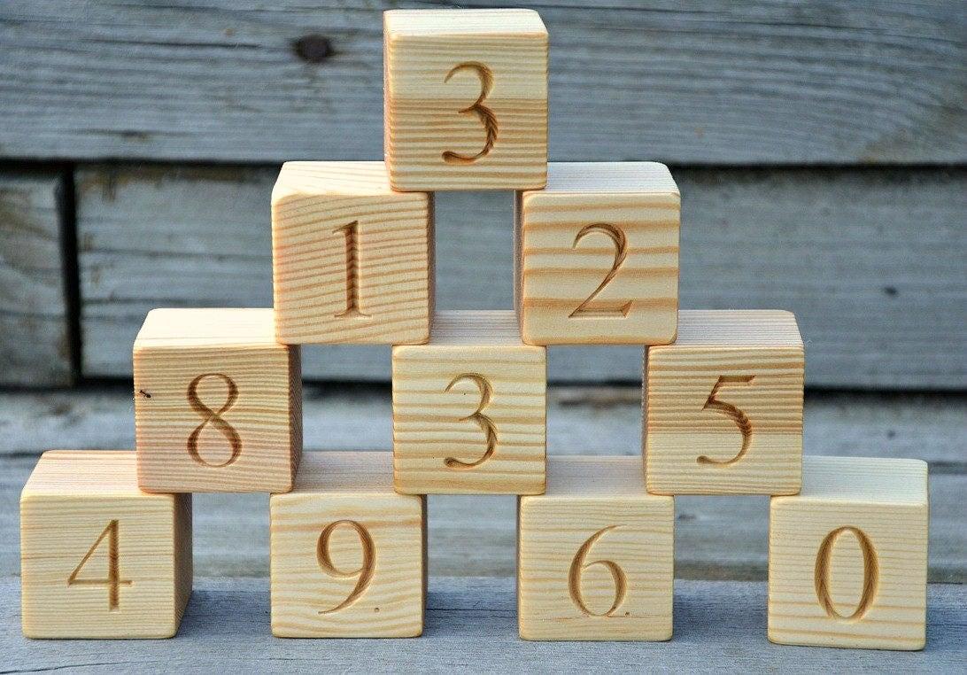 1.6'' Wood Number Blocks 10 Natural Handmade Wooden