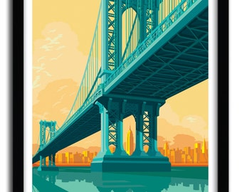Manhattan bridge Art Print by REMKO HEEMSKERK