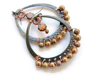 Handmade Czech Glass Hoops - Large Hoop Earrings - Gold Toned Czech Glass - Wire Wrapped Earrings - Copper Wire - Bohemian Jewelry - For Her