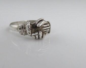 Vintage Sterling Fede Gimmel Hands Together Ring. Estate