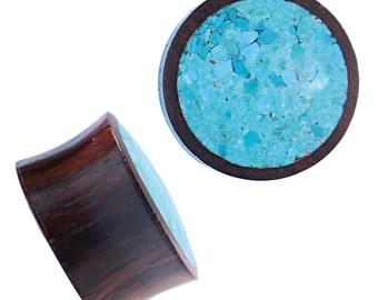 Holzplug Sonoholz hand-carved crushed turquoise inlay tribal wood tunnel plug Expander (HPT-173)