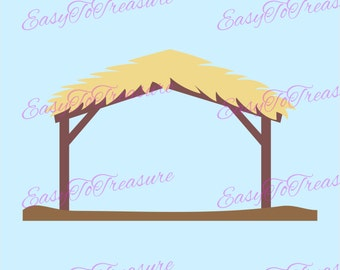 Digital Download Clipart – Nativity Stable JPG and PNG files