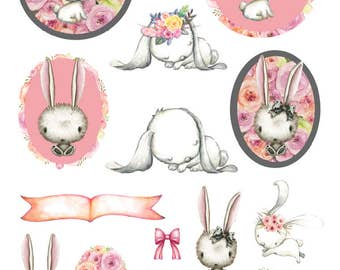 Mini Sticker Sheet  - Floral Bunnies