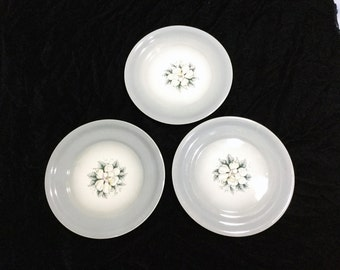 Magnolia by Harker Pottery set of 3 dinner plates Mid Century Classic