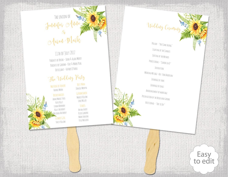 sunflowers wedding fan program template tuscany