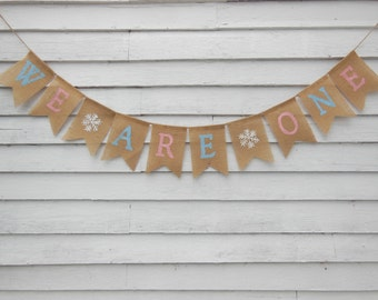 Winter Onederland Twins, Twinter Onederland, We Are One Banner, Twins First Birthday Decor, Twins Birthday banner, Twins Onederland Party