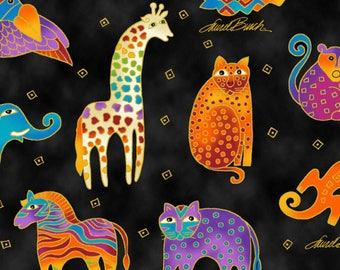 Laurel Burch Mythical Jungle Animals Fabric; Y2137-3M Black; Fat Quarter, Third Yard, Half Yard, or By The Yard; Metallic Fabric