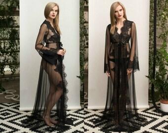 Black Lace-trimmed Tulle Bridal Robe F14(black), Black Bridal Robe, Black Lingerie, Black Sleepwear Lingerie, Boudoir, Valentines Gift